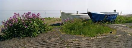 Minehead Inglaterra de dois barcos de enfileiramento Imagem de Stock Royalty Free