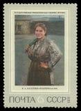 Mineiro da mulher da pintura por Kasatkin foto de stock royalty free