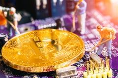 Mineiro diminuto do bitcoin do ouro da escavação do trabalhador fotos de stock