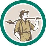 Mineiro With Shovel Circle do Prospetor retro ilustração stock