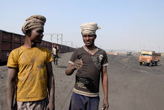 Mineiros de carvão em India Fotos de Stock