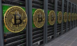 Mineiros dos servidores de Bitcoin Fotografia de Stock