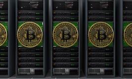 Mineiros dos servidores de Bitcoin Imagem de Stock Royalty Free