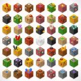 Minen skära i tärningar 02 isometriska beståndsdelar Stock Illustrationer