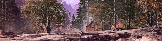 Miner's Mountain Shack. Miner's mountain shack in a forest landscape stock illustration
