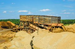 Minería aurífera por el método hidráulico Imágenes de archivo libres de regalías