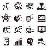 Minería de datos, base de datos, iconos del análisis de datos fijados Imagen de archivo