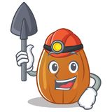 Miner almond nut character cartoon Royalty Free Stock Image