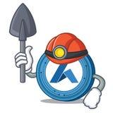 Miner Ardor coin mascot cartoon. Vector illustration Stock Photo