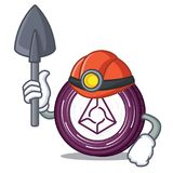 Miner Augur coin mascot cartoon. Vector illustration Stock Photos