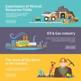 Miner Banner Set. Miner work flat horizontal banner set with exploitation of mineral resources fields oil and gas industry elements  vector illustration Stock Photos