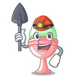 Miner boiled organic chicken egg in cartoon royalty free illustration