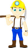 Miner boy hold the pick axe stock illustration