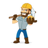 Miner holding gold and pickax  Stock Image