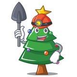 Miner Christmas tree character cartoon. Vector illustration Royalty Free Stock Image