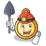 Miner chronometer character cartoon style Royalty Free Stock Photography