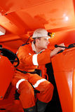 Miner in the cockpit Stock Image