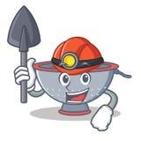 Miner colander utensil character cartoon Stock Images