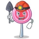 Miner cute lollipop character cartoon. Vector illustration Stock Photos