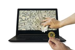 Miner earns money by mining the cryptocurrency bitcoin. Profit from trading on the stock exchange cryptocurrencies. Gold coin and dollars of bitcoin in the man Stock Photo