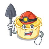 Miner egg tart mascot cartoon. Vector illustration Royalty Free Stock Images