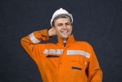 Miner happy. Miner is feeling relaxed after job well done stock photo Royalty Free Stock Photo