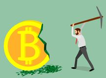 The miner with the help of a pickax extracts dollars from bitcoin. From a giant bitcoin, a businessman earns money Stock Photos