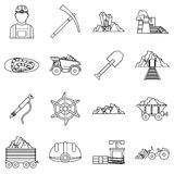 Miner icons set, outline style Stock Images