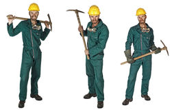 Miner isolated on white collection Royalty Free Stock Photography
