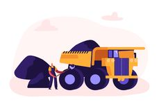 Miner Loading Coal with Shovel into Truck. Quarry Transport and Technique, Extraction Industry. Coal Mining Infographics. Working Equipment, Transportation royalty free illustration
