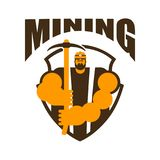 Miner logo. Mining Bitcoin Crypto Currencies. Worker with pickax. E. Vector illustration Stock Image