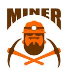 Miner logo. Mining Bitcoin Crypto Currencies. Worker with pickax. E. Vector illustration Royalty Free Stock Image