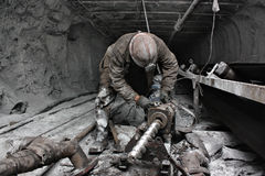 Miner in a mine Stock Images