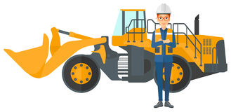 Miner with mining equipment on background Royalty Free Stock Photos