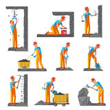 Miner People Flat Collection Royalty Free Stock Image