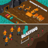 Miner People Isometric Banners. Isometric horizontal banners presenting miner people machinery and process of blasting isolated vector illustration Stock Image