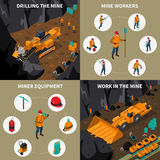 Miner People 2x2 Isometric Icons Set. Miner equipment machinery and people workinf in mine 2x2 isometric icons set isolated vector illustration Royalty Free Stock Photo