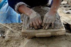 Miner in Peru. Hands of a miner in Peru Stock Photo