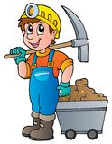 Miner with pickaxe and cart stock illustration