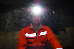 Miner portrait. Portrait of a miner in a mine shaft stock photo Stock Images