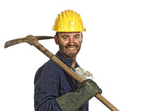 Miner portrait isolated on white Royalty Free Stock Photography