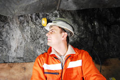 Miner profile stock photo