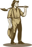 Miner prospector or gold digger. Illustration of a Miner, prospector or gold digger with shovel standing front isolated on white stock illustration