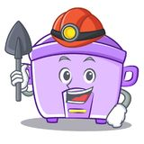 Miner rice cooker character cartoon Royalty Free Stock Images