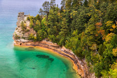Miner's Castle at Pictured Rocks. Miner's Castle is a rock formation jutting out into the colorful waters of Lake Superior at Michigan's Pictured Rocks National stock images
