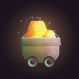 Cave wheelbarrow filled with gold. Miner`s cave tray trolley wheelbarrow filled with sparkling golden ore riches treasure. Illustration for bonus winner Royalty Free Stock Photography