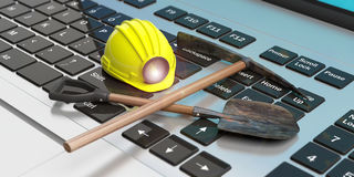Miner`s equipment on a computer keyboard. 3d illustration Stock Images