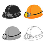 Miner`s helmet icon in cartoon style isolated on white background. Mine symbol stock vector illustration. Royalty Free Stock Photo