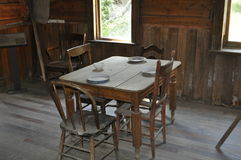 Miner`s Table. A miner`s breakfast table in ghost town of Garnet, MT Stock Photo