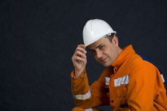 Miner saluting with copy space royalty free stock images